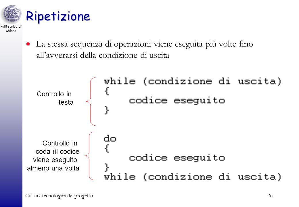 Ripetizione La stessa sequenza di operazioni viene eseguita più volte fino all'avverarsi della condizione di uscita.