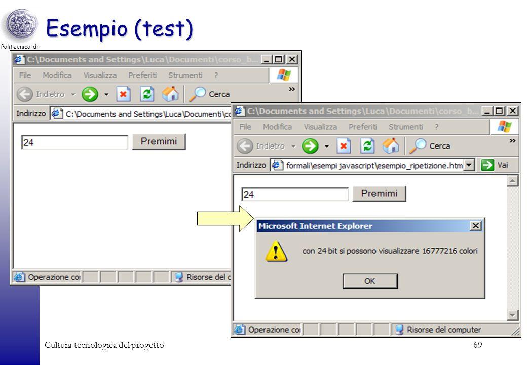 Esempio (test) Cultura tecnologica del progetto