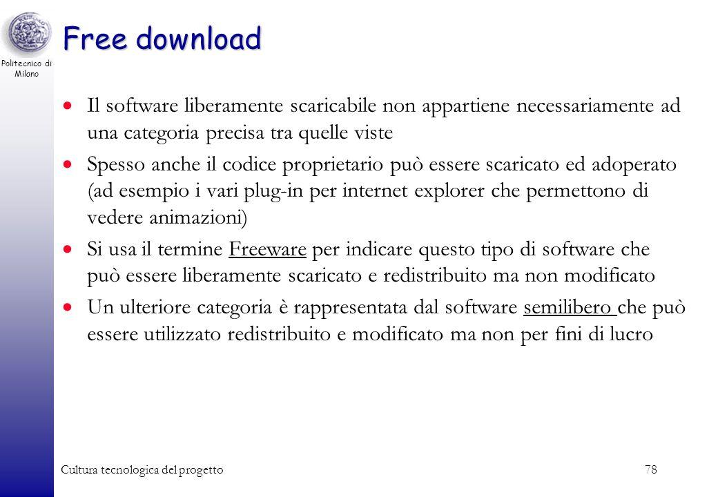 Free downloadIl software liberamente scaricabile non appartiene necessariamente ad una categoria precisa tra quelle viste.