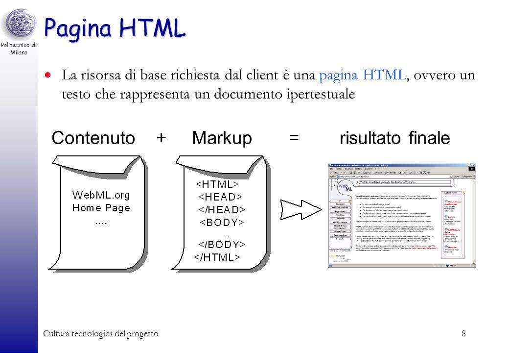 Pagina HTML Contenuto + Markup = risultato finale