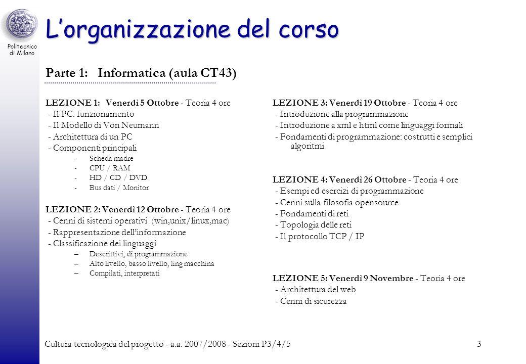 L'organizzazione del corso