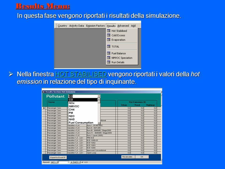 Results Menu:In questa fase vengono riportati i risultati della simulazione.