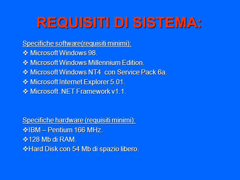 REQUISITI DI SISTEMA: Specifiche software(requisiti minimi):