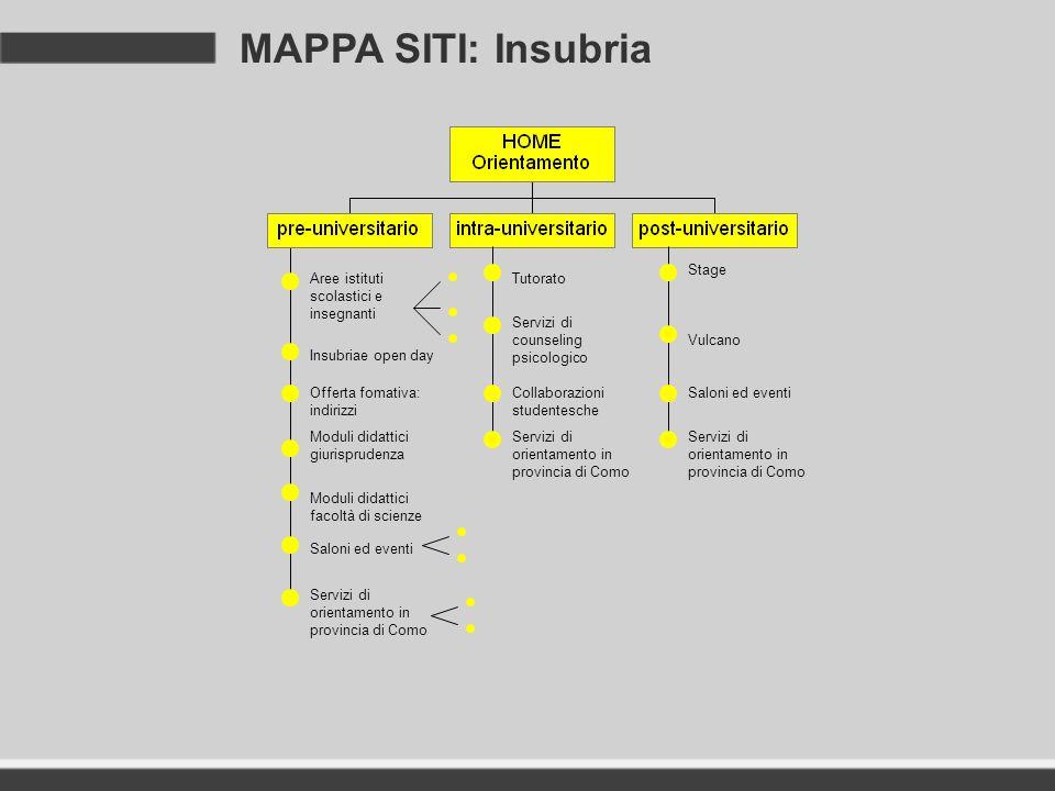 MAPPA SITI: Insubria Stage Aree istituti scolastici e insegnanti