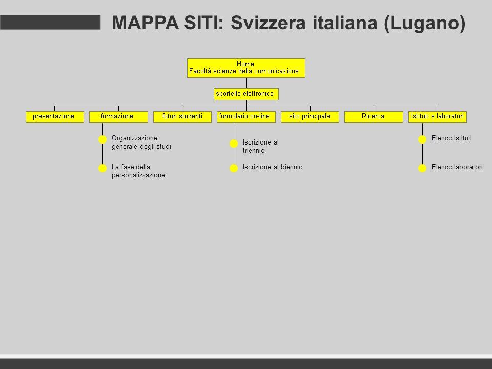 MAPPA SITI: Svizzera italiana (Lugano)