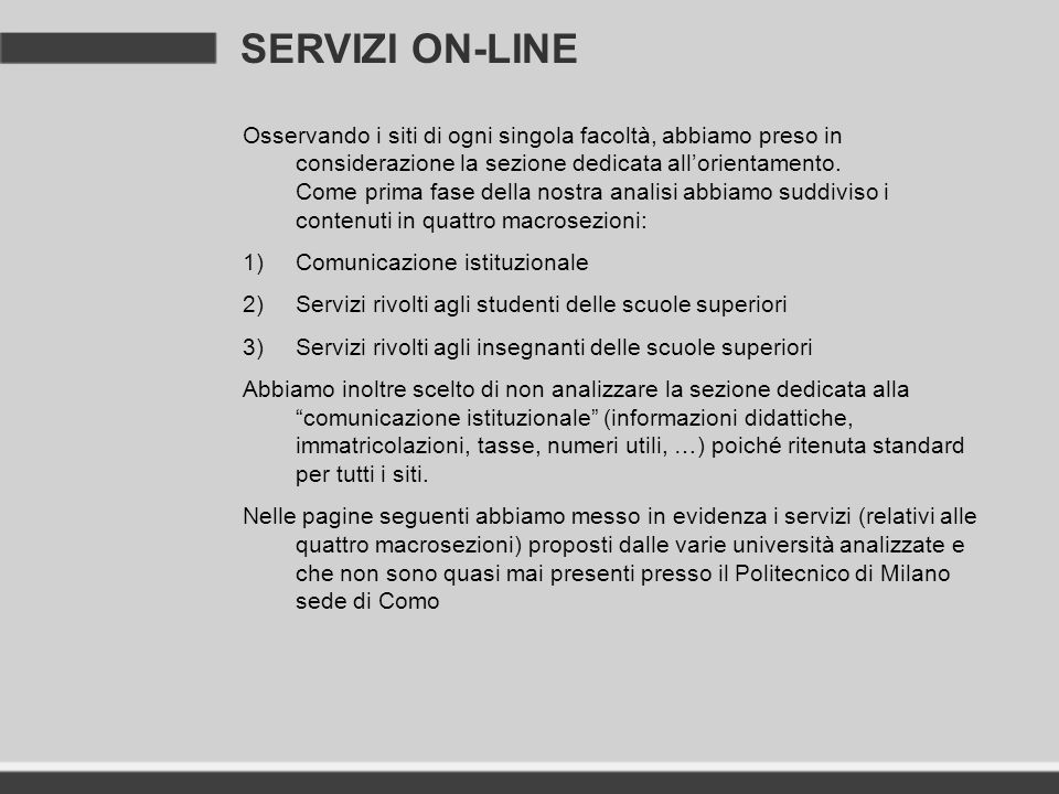 SERVIZI ON-LINE