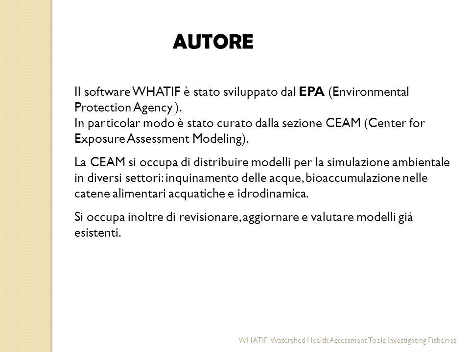 AUTORE Il software WHATIF è stato sviluppato dal EPA (Environmental Protection Agency ).