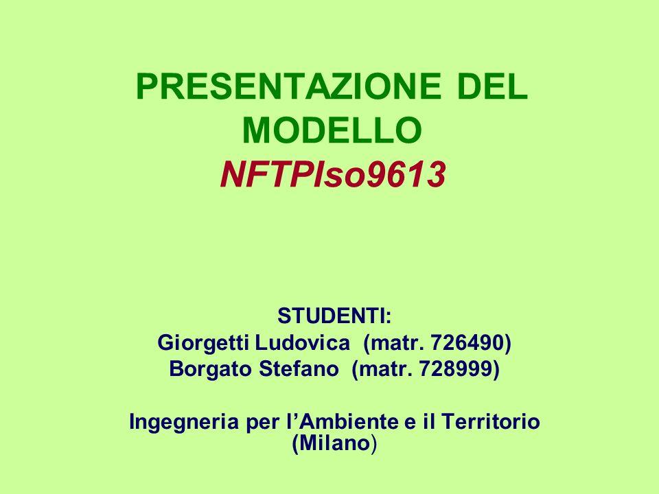PRESENTAZIONE DEL MODELLO NFTPIso9613