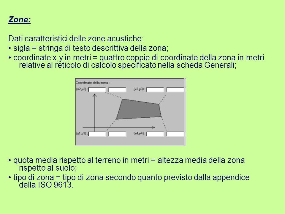 Zone: Dati caratteristici delle zone acustiche: • sigla = stringa di testo descrittiva della zona;