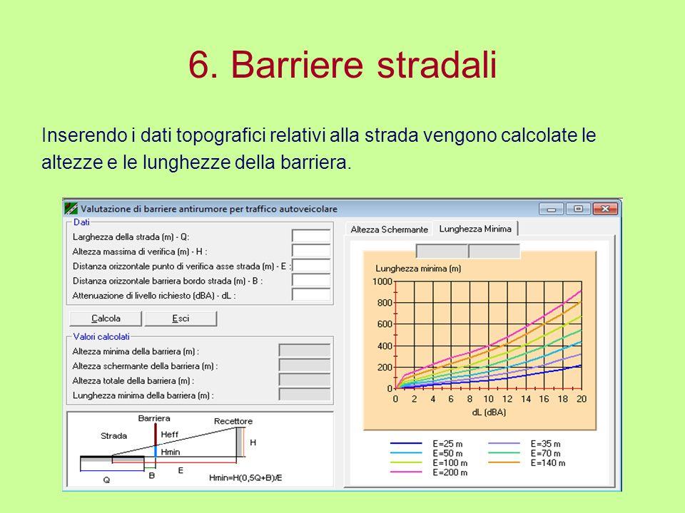 6. Barriere stradali Inserendo i dati topografici relativi alla strada vengono calcolate le.
