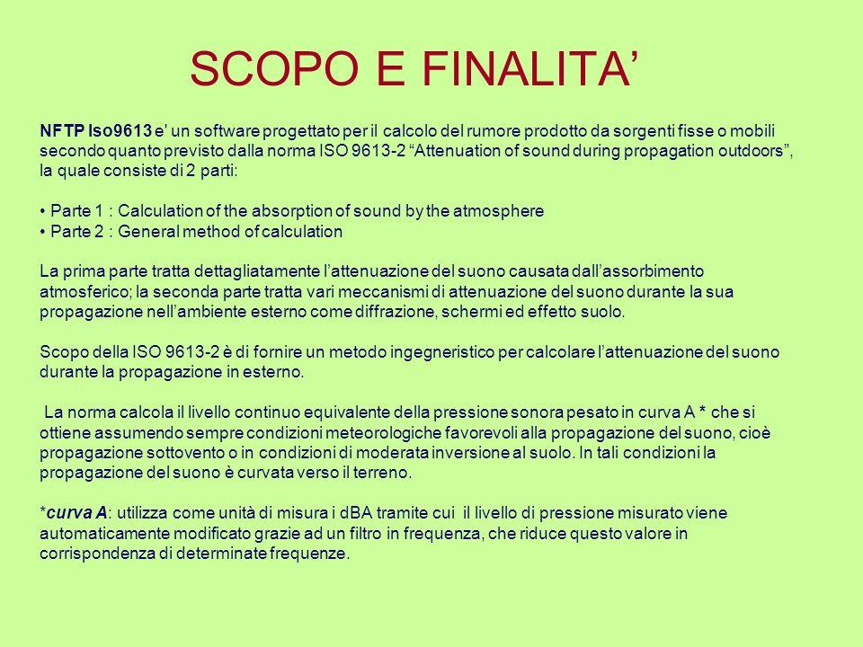 SCOPO E FINALITA' NFTP Iso9613 e un software progettato per il calcolo del rumore prodotto da sorgenti fisse o mobili.