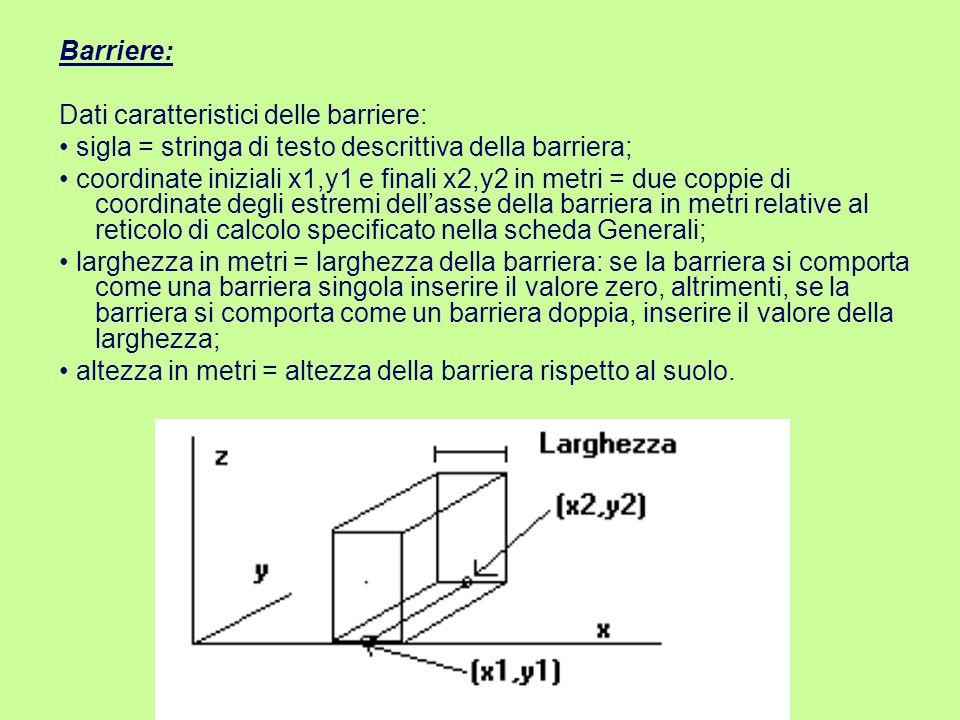Barriere: Dati caratteristici delle barriere: • sigla = stringa di testo descrittiva della barriera;