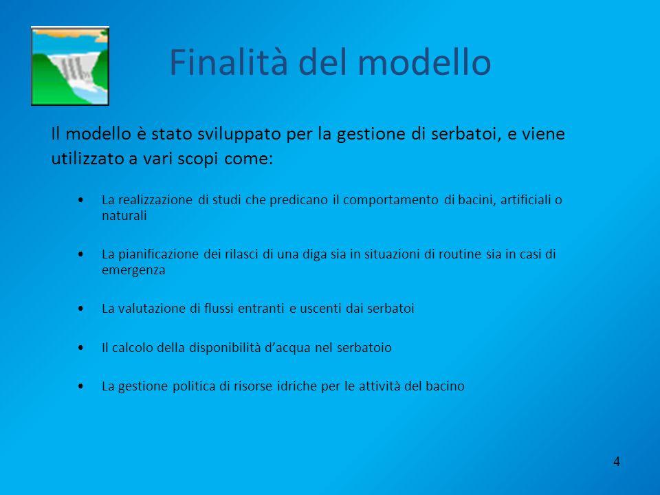 Finalità del modelloIl modello è stato sviluppato per la gestione di serbatoi, e viene utilizzato a vari scopi come: