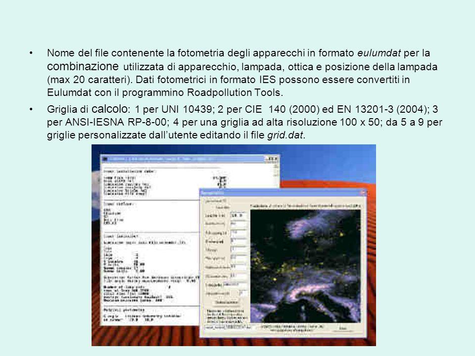 Nome del file contenente la fotometria degli apparecchi in formato eulumdat per la combinazione utilizzata di apparecchio, lampada, ottica e posizione della lampada (max 20 caratteri). Dati fotometrici in formato IES possono essere convertiti in Eulumdat con il programmino Roadpollution Tools.