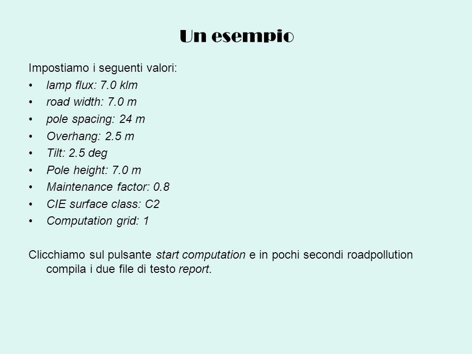 Un esempio Impostiamo i seguenti valori: lamp flux: 7.0 klm