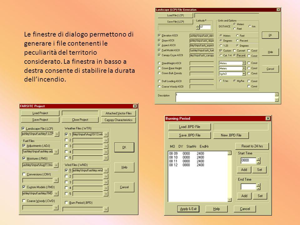 Le finestre di dialogo permettono di generare i file contenenti le peculiarità del territorio considerato.