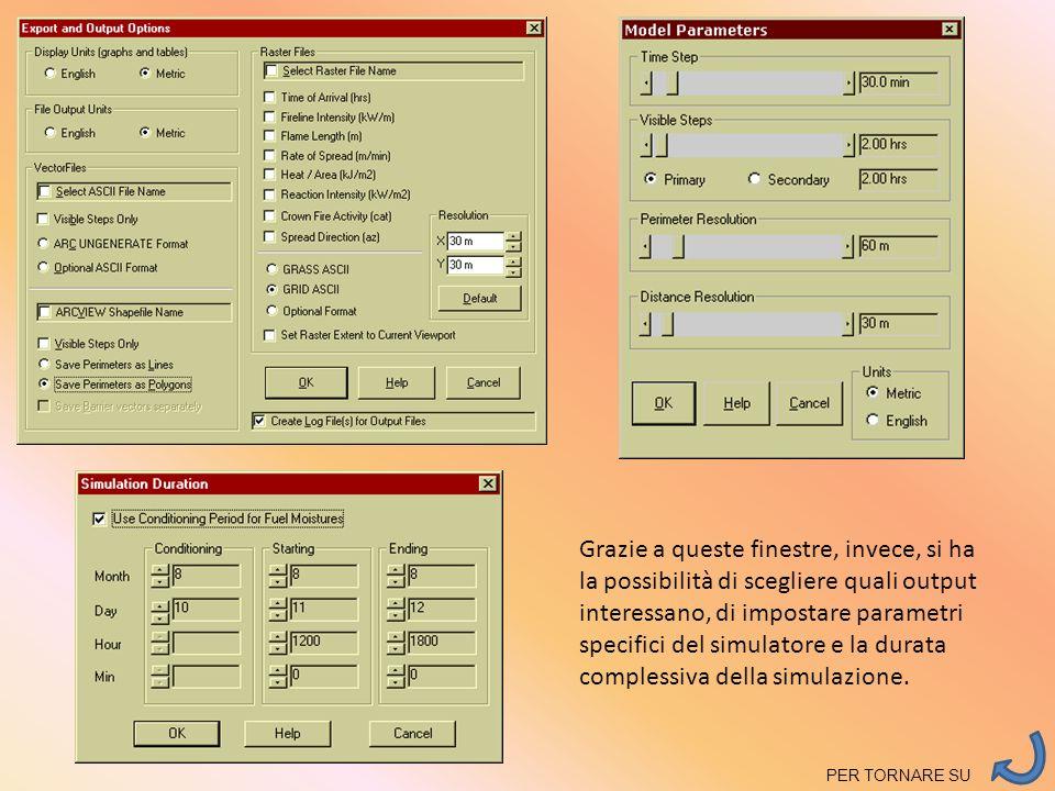Grazie a queste finestre, invece, si ha la possibilità di scegliere quali output interessano, di impostare parametri specifici del simulatore e la durata complessiva della simulazione.