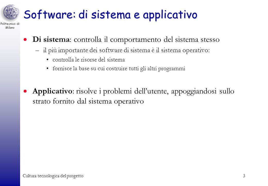 Software: di sistema e applicativo