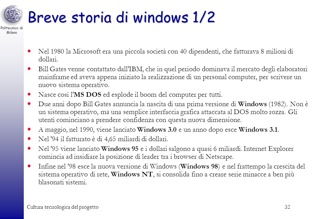 Breve storia di windows 1/2