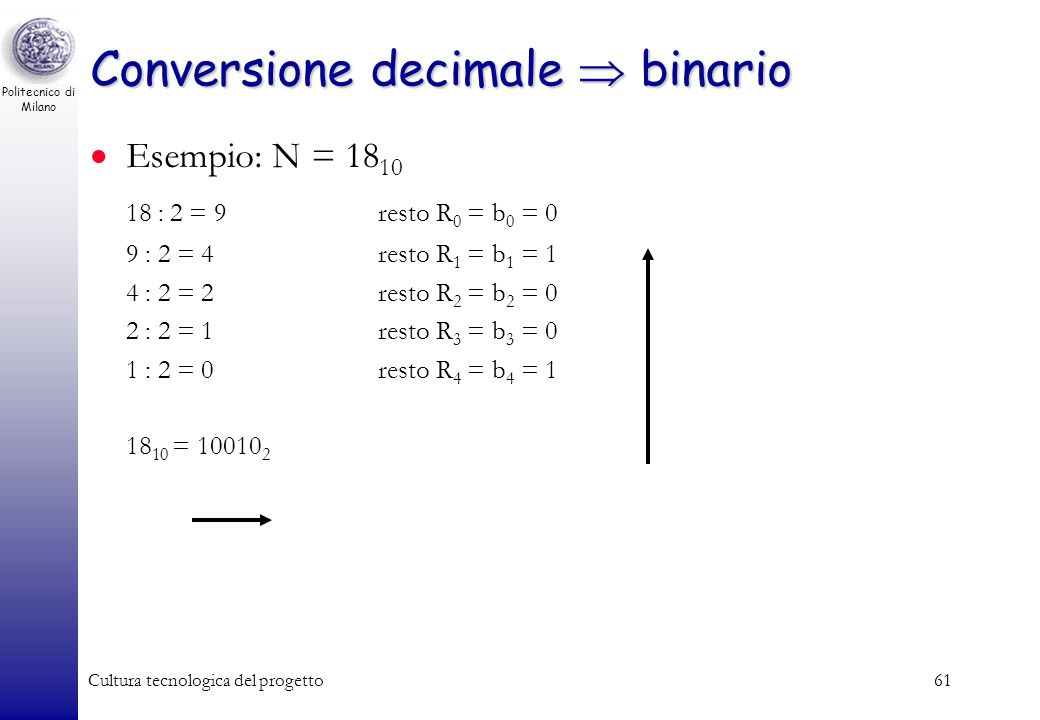 Conversione decimale  binario