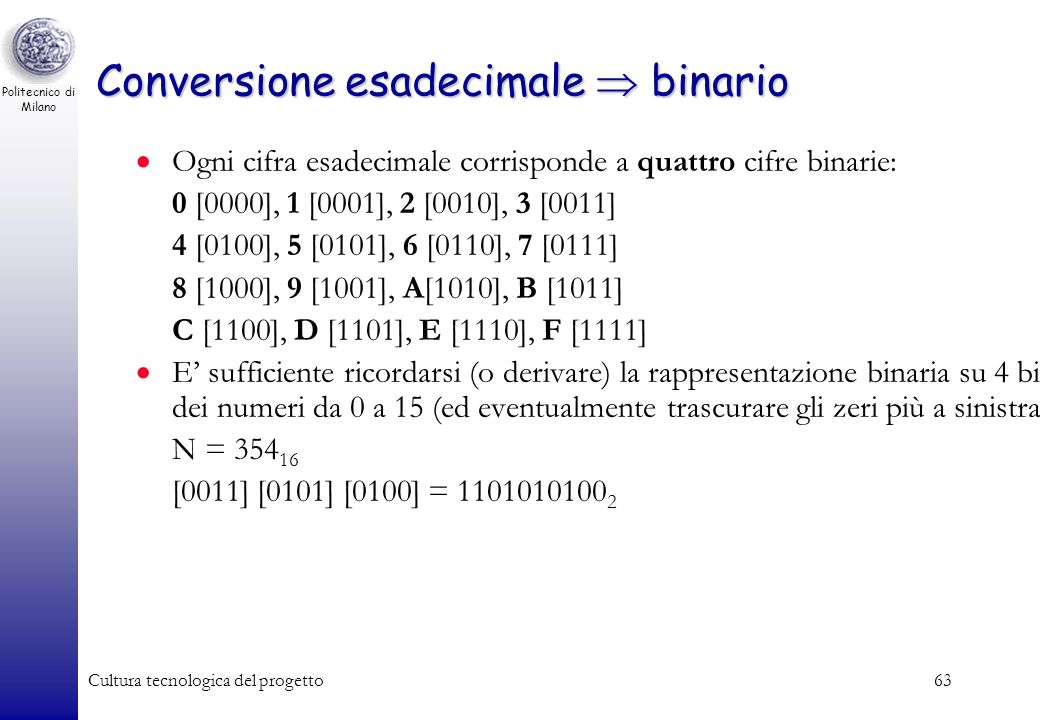 Conversione esadecimale  binario