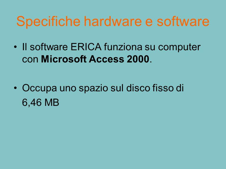 Specifiche hardware e software