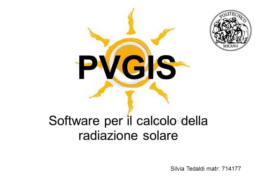 Software per il calcolo della radiazione solare