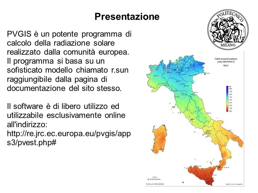 Presentazione PVGIS è un potente programma di calcolo della radiazione solare realizzato dalla comunità europea.