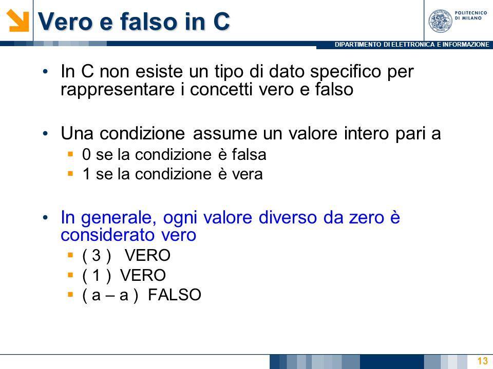 Vero e falso in C In C non esiste un tipo di dato specifico per rappresentare i concetti vero e falso.