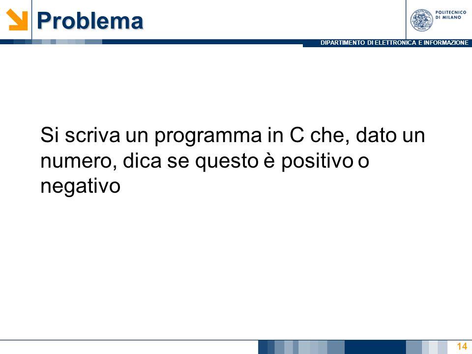 Problema Si scriva un programma in C che, dato un numero, dica se questo è positivo o negativo