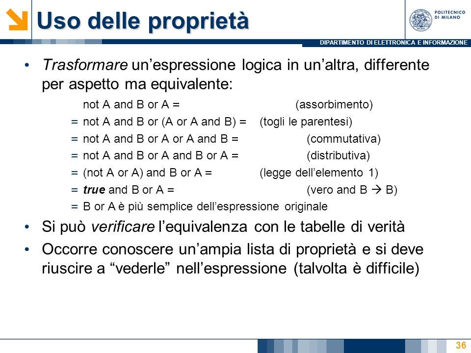 Uso delle proprietà Trasformare un'espressione logica in un'altra, differente per aspetto ma equivalente: