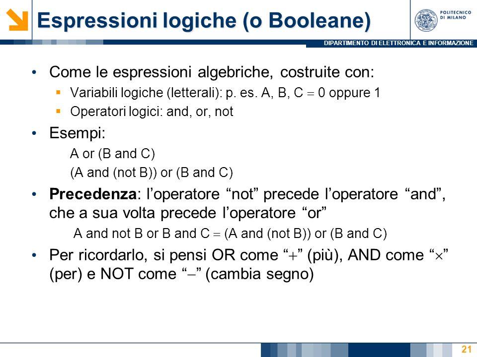 Espressioni logiche (o Booleane)