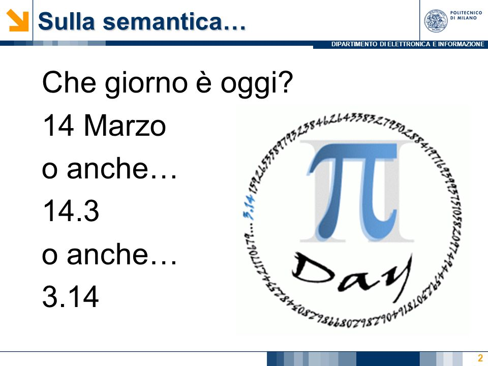 Sulla semantica… Che giorno è oggi 14 Marzo o anche… 14.3 3.14
