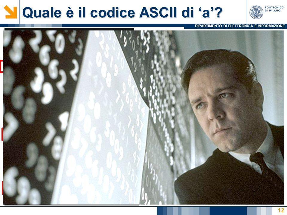 Quale è il codice ASCII di 'a'