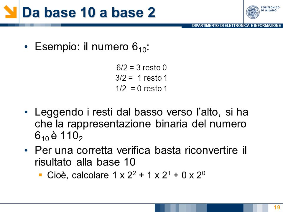 Da base 10 a base 2 Esempio: il numero 610: