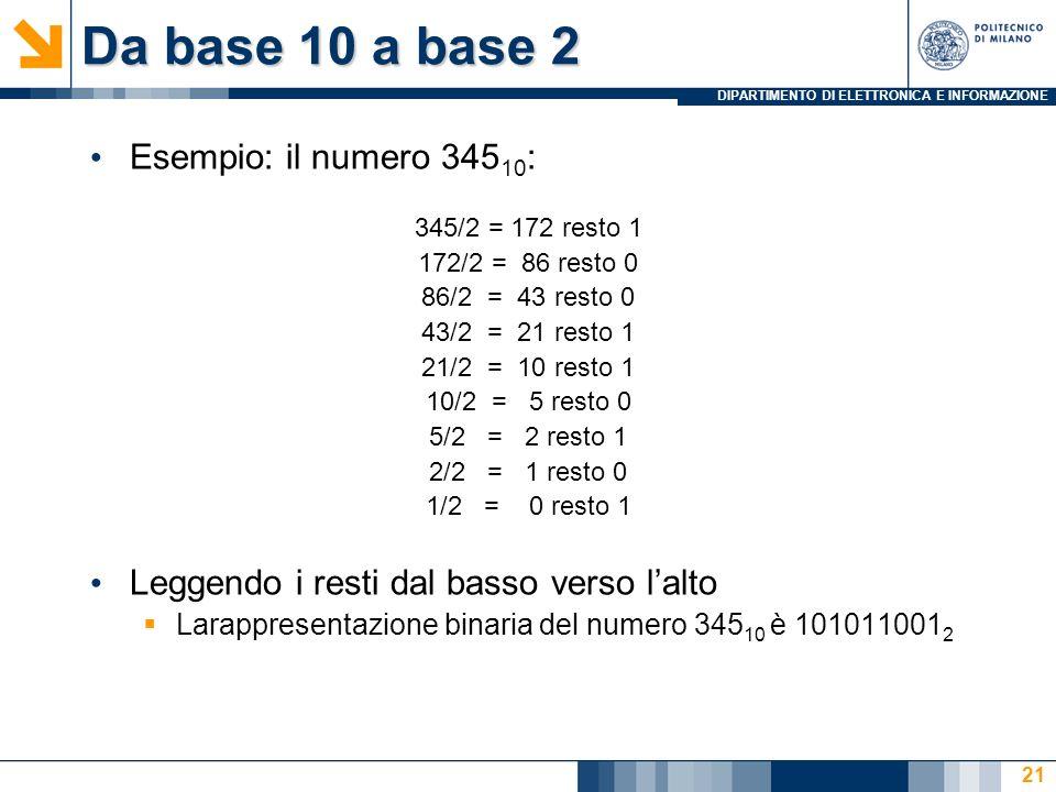 Da base 10 a base 2 Esempio: il numero 34510: