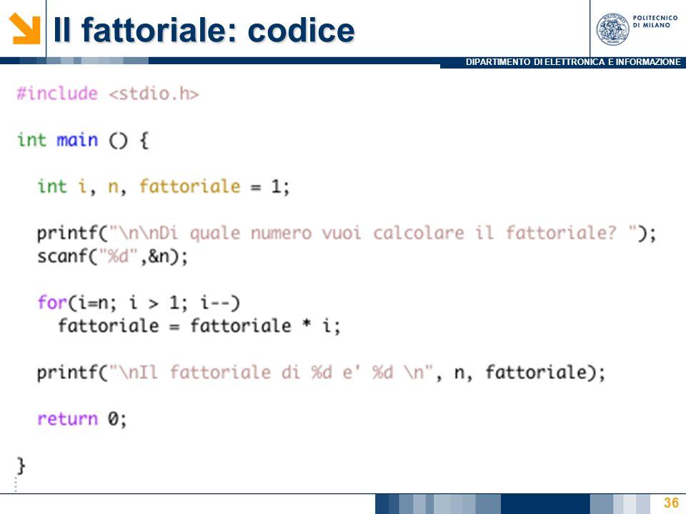 Il fattoriale: codice
