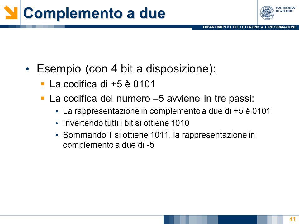 Complemento a due Esempio (con 4 bit a disposizione):
