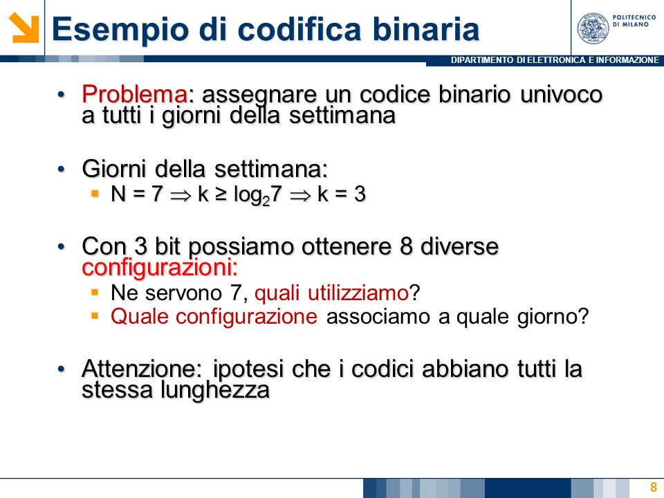 Esempio di codifica binaria