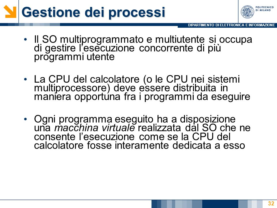 Gestione dei processiIl SO multiprogrammato e multiutente si occupa di gestire l'esecuzione concorrente di più programmi utente.