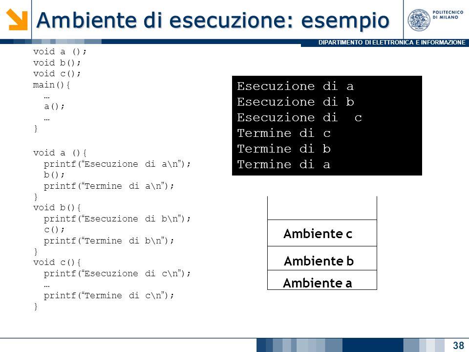 Ambiente di esecuzione: esempio
