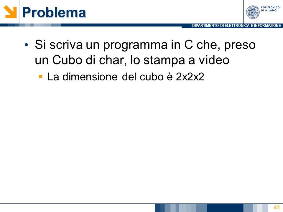Problema Si scriva un programma in C che, preso un Cubo di char, lo stampa a video.