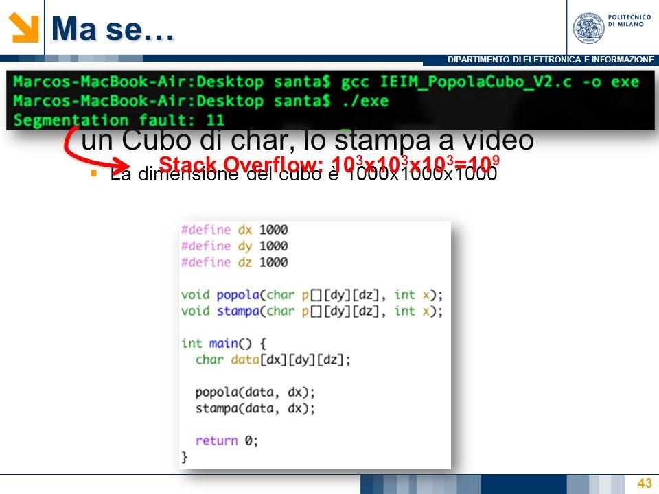 Ma se…Si scriva un programma in C che, preso un Cubo di char, lo stampa a video. La dimensione del cubo è 1000x1000x1000.