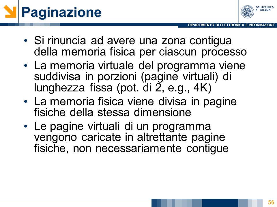 Paginazione Si rinuncia ad avere una zona contigua della memoria fisica per ciascun processo.