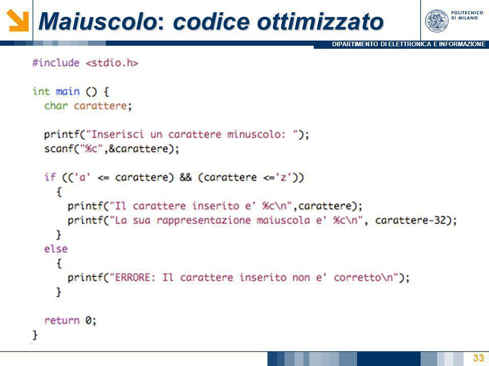 Maiuscolo: codice ottimizzato