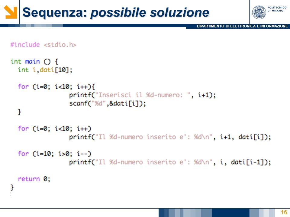 Sequenza: possibile soluzione