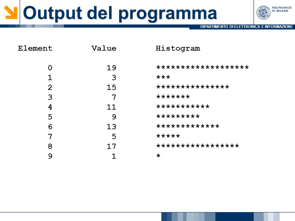 Output del programma Element Value Histogram 0 19 *******************