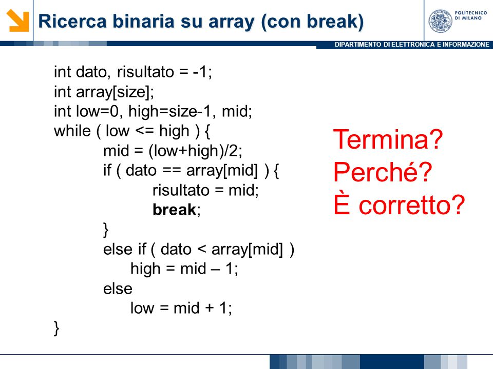 Ricerca binaria su array (con break)