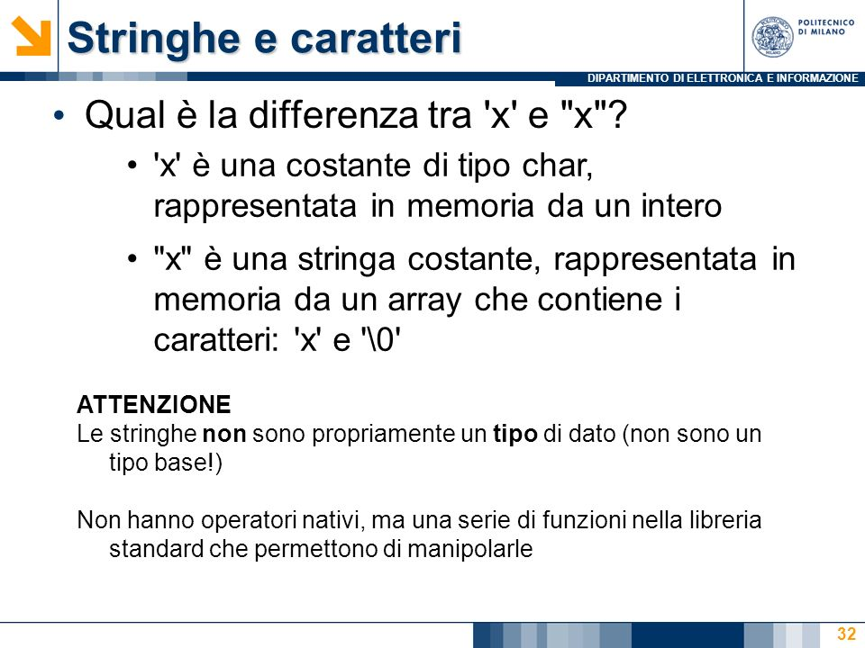 Stringhe e caratteri Qual è la differenza tra x e x