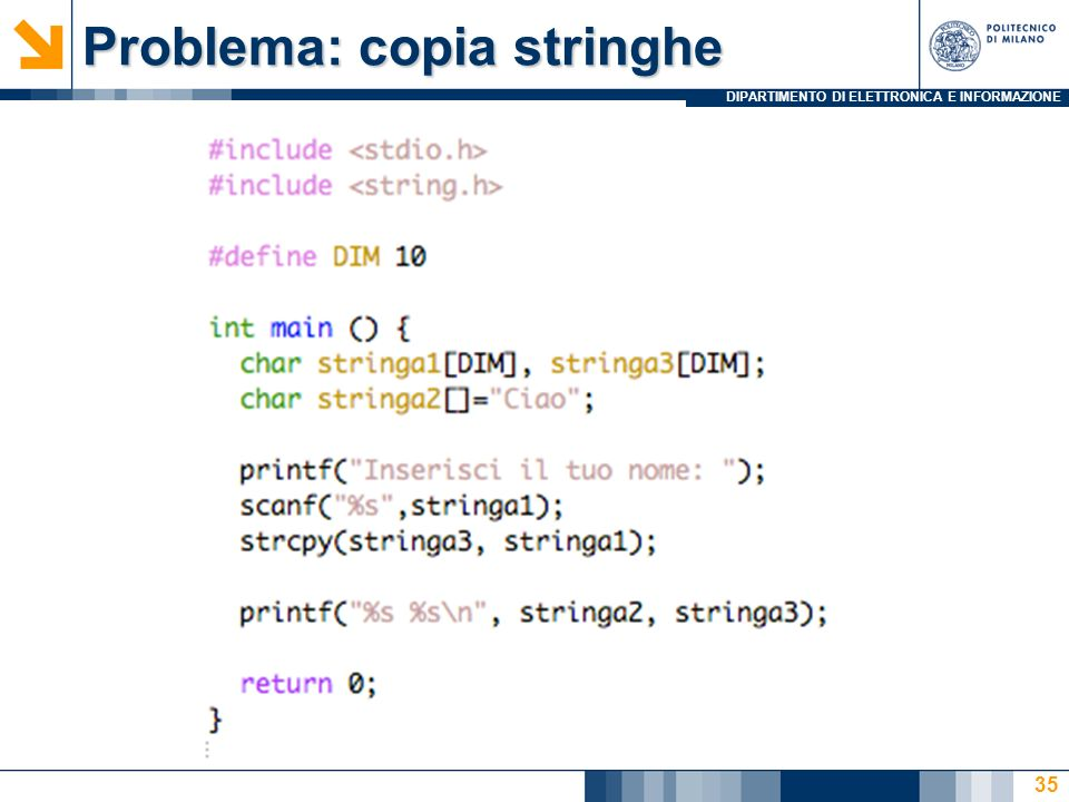 Problema: copia stringhe